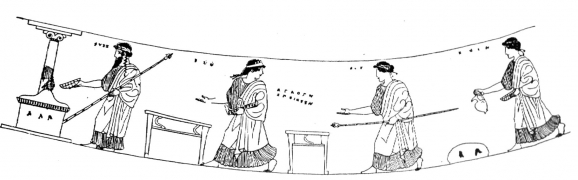 Fig. 3 : Pyxide à figures rouges, signée Agathon.