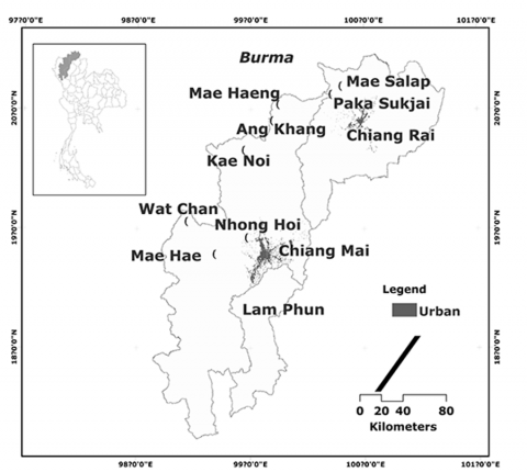Fig. 1: Location of the Seven Case Study Sites Across Upper Northern Thailand