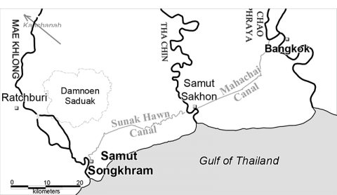 Fig. 1: Location of the Damnoen Saduak Region in the Southern Mae Khlong Delta Plain