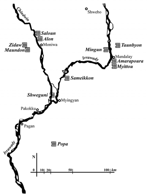Fig. 1: Location of nat festivals in Central Burma