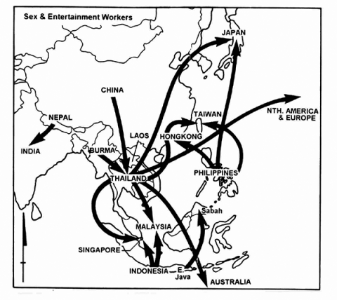 Fig. 2. Asia—Main Flows of Sex and Entertainment Workers