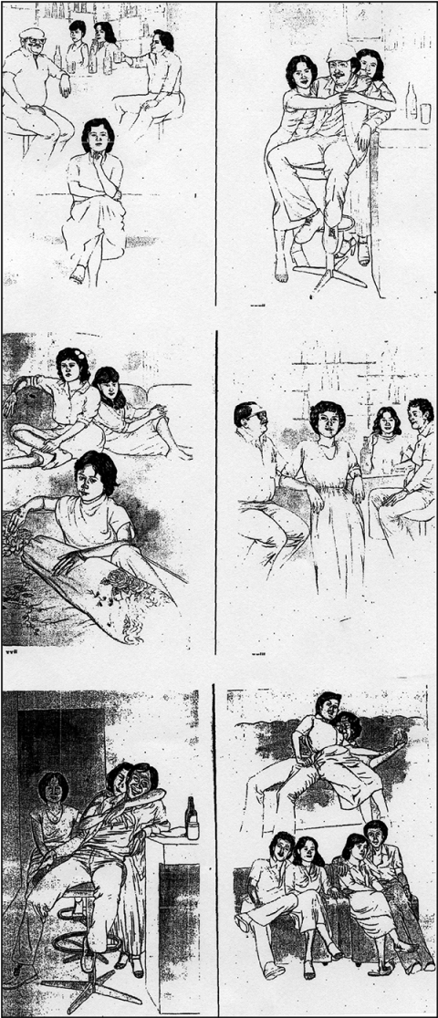 Fig. 4. Sketches of customers in the Dolly Red-Light district of Surabaya