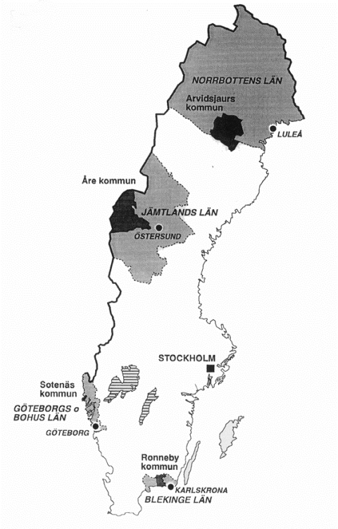 Figure 1 : Geographical extension of the LAAs Ronneby, Sotenäs, Åre and Arvidsjaur. Besides the counties and the localization of the main places of each county are shown