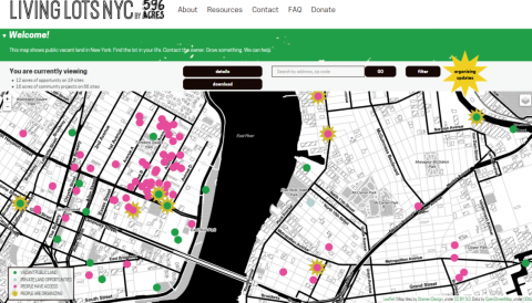 Figure 3: Screenshot of the Living Lots map produced by 596 Acres in NYC, USA