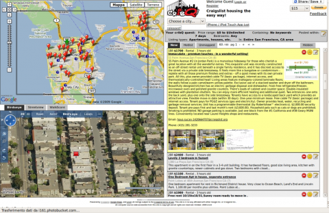 Figure 2. Cartographic Mash-up website, which connects the real estate advertisements of Craiglist to the Google Maps base map