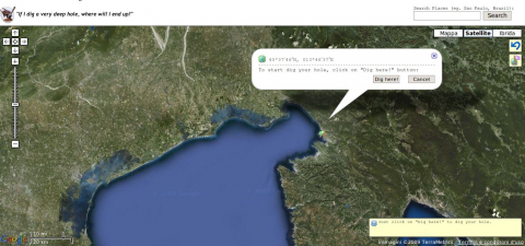Figure 3. Cartographic Mash-up website showing where we would emerge on the opposite side of the Earth if we kept digging starting at the centre of Trieste, in Northern Italy