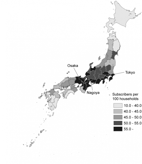 Figure 4. Geographical distribution of broadband penetration rate in Japan (2008)