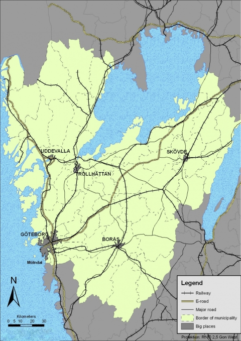 Figure 1. Railways, roads and big places in Västra Götaland