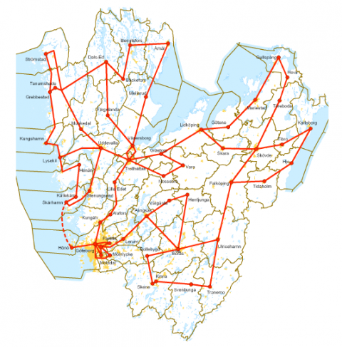 Figure 2. Infrastructure for wired broadband (10 Gb capacity) connecting mainly central places of the municipalities of Västra Götaland in spring 2009.