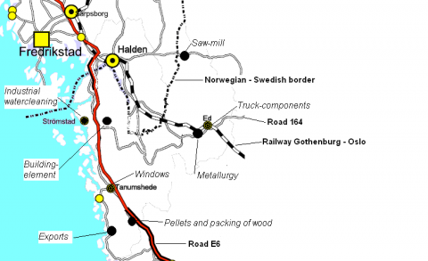 Figure 3. The location of selected businesses with decleration of type of businesses. Besides the Norwegian cities of Halden and Fredrikstad/Sarpsborg are marked.