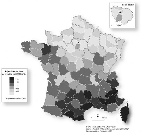 Figure 1 : Le taux de création des associations pour 1 000 habitants en 2000, par département en FranceRate of association creation, per 1 000 inhabitants, in France, by departements in 2000
