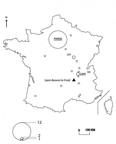 Figure 1 : Carte des restaurants ayant obtenu trois étoiles au Guide Michelin durant plus de dix ans/Map of restaurants which were awarded three stars by the Michelin Guide for more than ten years