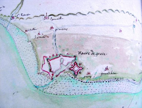 Figure 2 : Carte du Havre (enquête de 1665).Map of Le Havre (inquiry 1665).