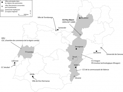 Localization map of programme members (INTERREG SUDOE « attractiveness of regions and innovation : the case of medium towns »)