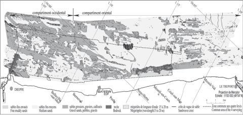 Figure 3 : Répartition des formations superficielles en 1988-1989 (Augris et al., 1993)Location of the bed superficial deposits in 1988-1989