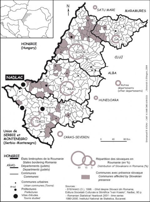 Figure 2 : Le peuplement de souche nationale slovaque dans l'Ouest de la RoumaniePopulation of Slovak National Origin in Western Romania