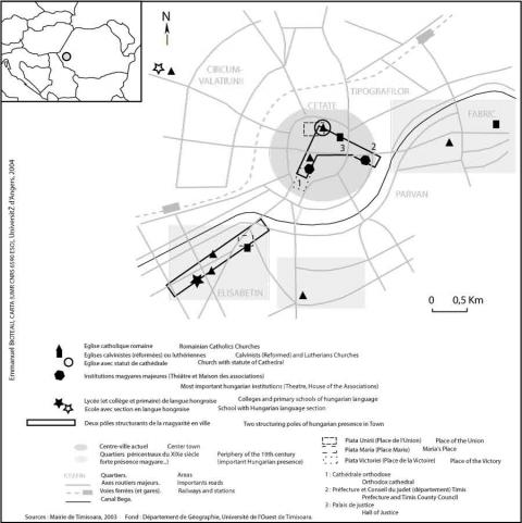 Figure 4 : Présences et marqueurs de magyarité à Timisoara, en 2003Markers and Situations of Magyar National Origin Population in Timisoara, 2003