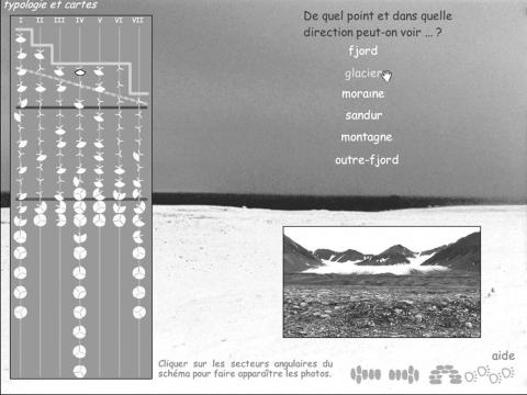 Figure 7 : De quel point et dans quelle direction peut-on voir le glacier ?From which point and towards which direction can we see the glacier ?