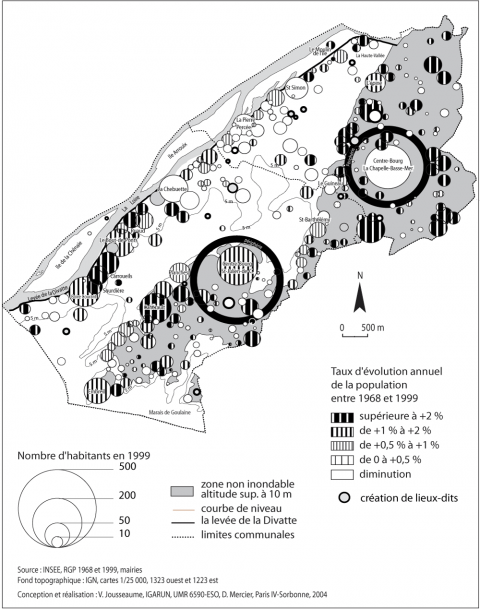 Figure 7 : La population du val nantais par lieu-dit (1968-1999)Val nantais population by locality (1968-1999)