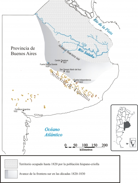 Figura 1. Frontera sur bonaerense (Argentina). Avances criollos en el área de estudio durante las décadas de 1820-1830.