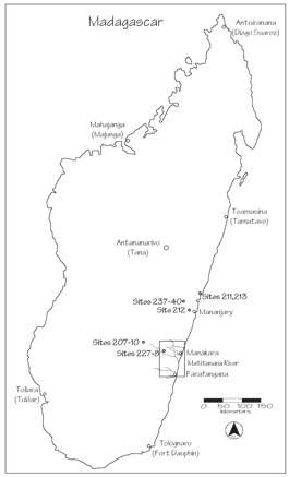 Fig. 1. The Matitanana Archaeological Project and ancillary project areas, including the sites near Mananjary related to chlorite-schist production