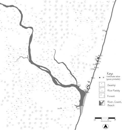 Fig. 18. Ambohabe phase sites in the lower Matitanana River valley (Site 3 is Pannetier's Ambohabe)