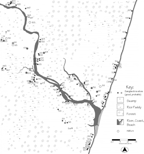 Fig. 19. Sangilavitra phase sites and hill forts in the lower Matitanana River valley