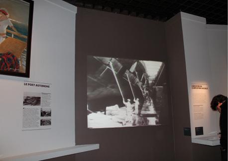 La partie de l'exposition Bordeaux port(e) du monde, 1800-1939 consacrée à l'industrie navale à Bordeaux propose différentes tailles d'écran.