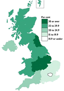 Map 1: Industrial Production in the UK (GDP per Region)