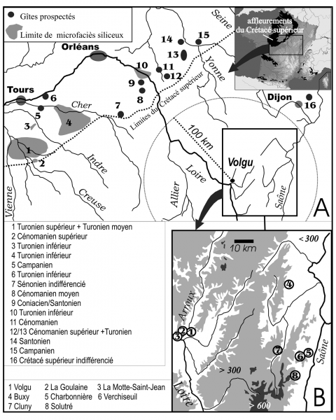 Figure 1 - Localisation des formations géologiques dont les silex ont été comparés avec ceux des feuilles de Volgu.Figure 1 - Location map of the geological formations used for comparison with the raw material of Volgu laurel leaf points.