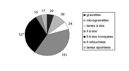Figure 12 -  Effectifs et proportions des différentes armatures de la couche E.Figure 12 - Quantities and statistics of the various supports issued from the E layer.