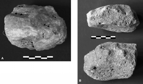 Figure 9 - A) Example of a hammerstone with fracture angles from FC West Main Floor, classified originally by Leakey (1971) as a chopperB) Example of chunk devoid of traces of human modification from DK, classified originally as a chopperFigure 9 - A) Exemple de percuteur à angles de fracture de FC West Main Floor, classifié à l'origine comme chopper par Leakey (1971)B) Exemple de bloc dépourvu de traces de modification anthropique de DK, classifié à l'origine comme chopper