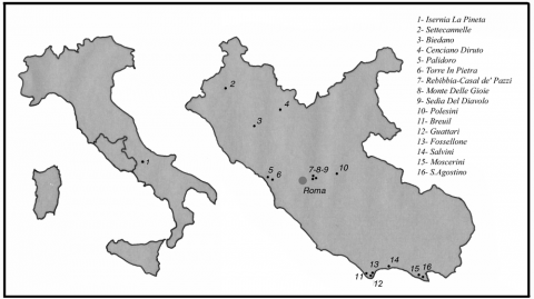 Figure 1 - Carte des gisements pris en considération dans le texteFigure 1 - Map of the sites considered in the text