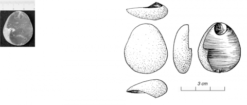 Figure 13 - Morphologie du bulbe 6 : négatif « à couronne ». (photo G. Gratton)Figure 13 - Bulbar morphology 6: crowned negative (picture by G. Gratton)