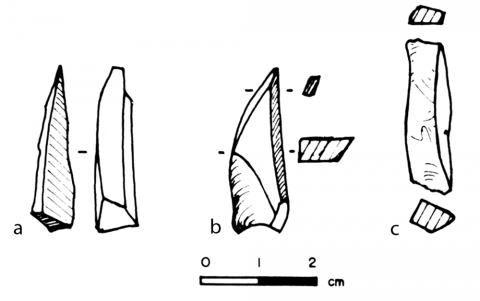 Figure 15 - Aiguilles bipolaires utilisables comme perçoirs (a, b) et baguette utilisable comme burin (c)Figure 15 - Bipolar products that may be used as drills (a, b) or burin (c)