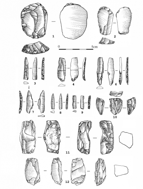 Figure 6 - Grotte des Camisards (Saint-Laurent-le-Minier, Gard). Industrie lithique.Figure 6 - Grotte des Camisards (Saint-Laurent-le-Minier, Gard). Lithic industry.