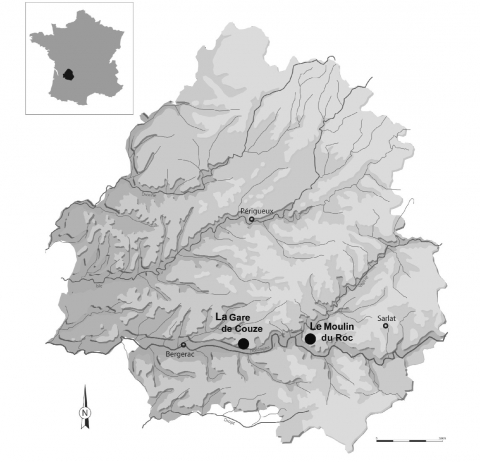 Figure 1 - Localisation géographique des sites de La Gare de Couze et du Moulin du Roc (Dordogne).Figure 1 - Geographical location of La Gare de Couze and Le Moulin du Roc sites (Dordogne).
