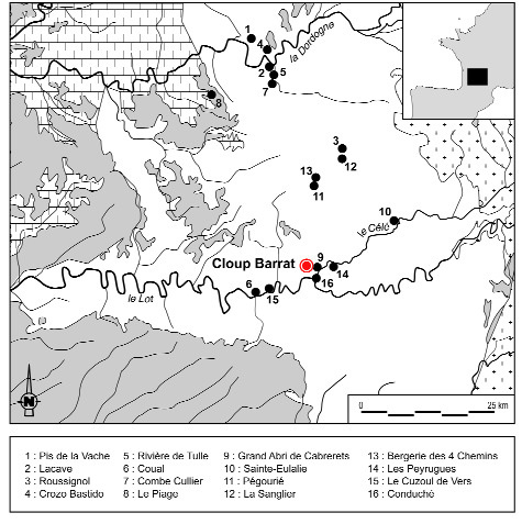 Figure 1 - Localisation du Petit Cloup Barrat et répartition des principaux gisements quercinois attribués au Solutréen, au Badegoulien et au Magdalénien.Figure 1- Localization of the Petit Cloup Barrat and repartition of main archaeological sites in Quercy region attributed to Solutrean, Badegoulian and Magdalenian.