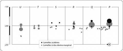 Figure 9 - Projection comparée des lamelles scalènes et des lamelles à dos dextre marginal (pièces cotées et tamis).Figure 9 - Compared view of stratigraphic distribution of « lamelles scalènes » and bladelet with right- hand and marginal back.