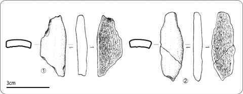 Figure 24 - Exemples de fragments de bois de renne sans trace de travail a priori.Figure 24 - Fragments of Reindeer antler maybe unworked.