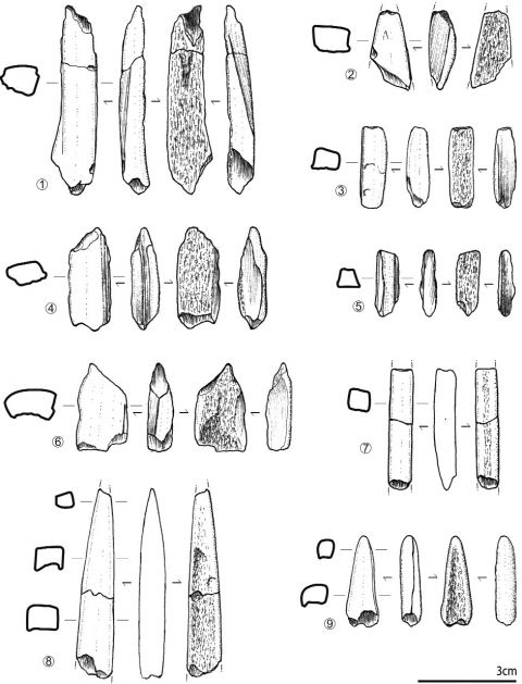 Figure 25 - Produits du débitage par rainurage des bois de cervidés.Figure 25 - Reindeer Antler industry. Extracted products by double grooves.