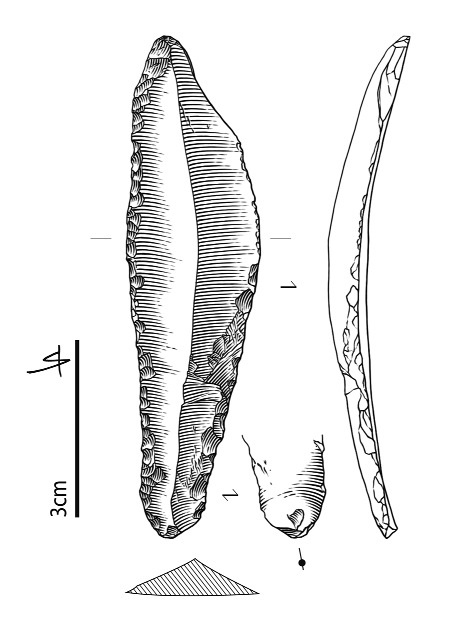 Figure 7 - Lame appointée, retouchée et ocrée en silex sénonien.Figure 7 - Pointed and retouched blade that shows traces of ocher (senonian flint).