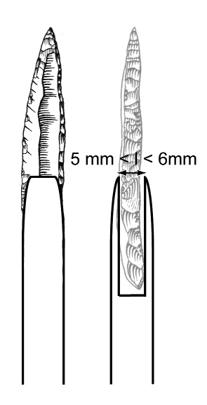 Figure 14 - Un emmanchement axial identique des pointes à dos du Gravettien à Noailles : un critère unificateur fort ?Figure 14 - An identical axial hafting of backed points from Gravettian with Noailles burins: a high unifying diagnostic criterion?