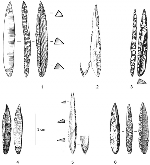 Figure 17 - Pointes des Vachons issues d'assemblages pyrénéens.Figure 17 - Vachons points from Pyrenean assemblages.