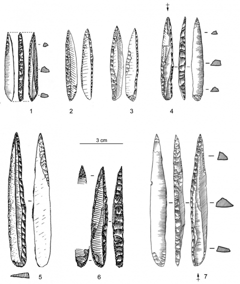 Figure 18 - Pointes des Vachons issues d'assemblages gravettiens français.Figure 18 - Vachons points from French gravettian assemblages.