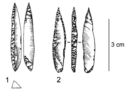 Figure 20 – Pointes des Vachons possibles provenant d'assemblages extra-gravettiens.Figure 20. Possible Vachons points from extra-gravettian assemblages.