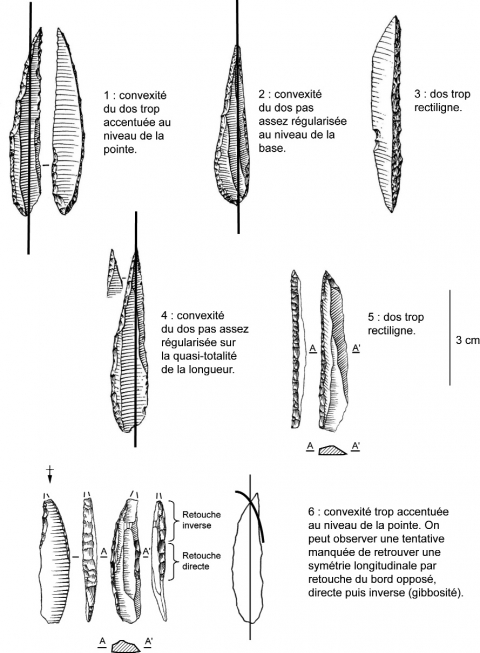 Figure 9 - Quelques exemples de pointes des Vachons déviantes. Isturitz, niveau IV.Figure 9 - A few examples of deviant Vachons points. Isturitz, level IV.