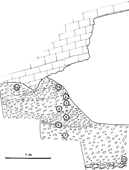 Figure 2 - Section stratigraphique des dépôts de l'abri I.Figure 2 - Shelter I, stratigraphic section.