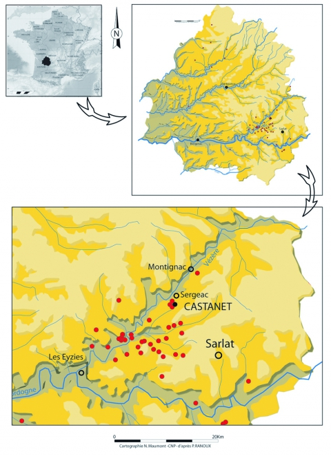Figure 1 - Geographic situation of Abri Castanet in the Vallon des Roches at Sergeac (Dordogne, France), in red, the main Aurignacian sites in the Vézère and Dordogne valleys.