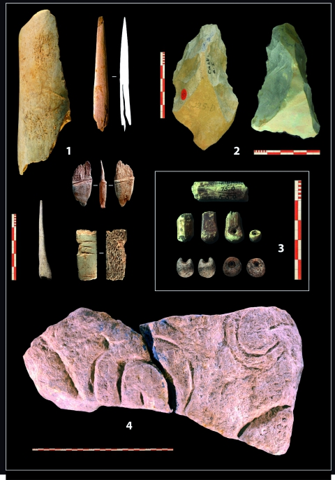 Figure 2 - Abris Castanet and Blanchard (Sergeac, Dordogne, France), artefacts representative of the Aurignacian culture. 1: Bone Industry; 2: Lithic Industry; 3: Ornaments; 4: Rock Art.